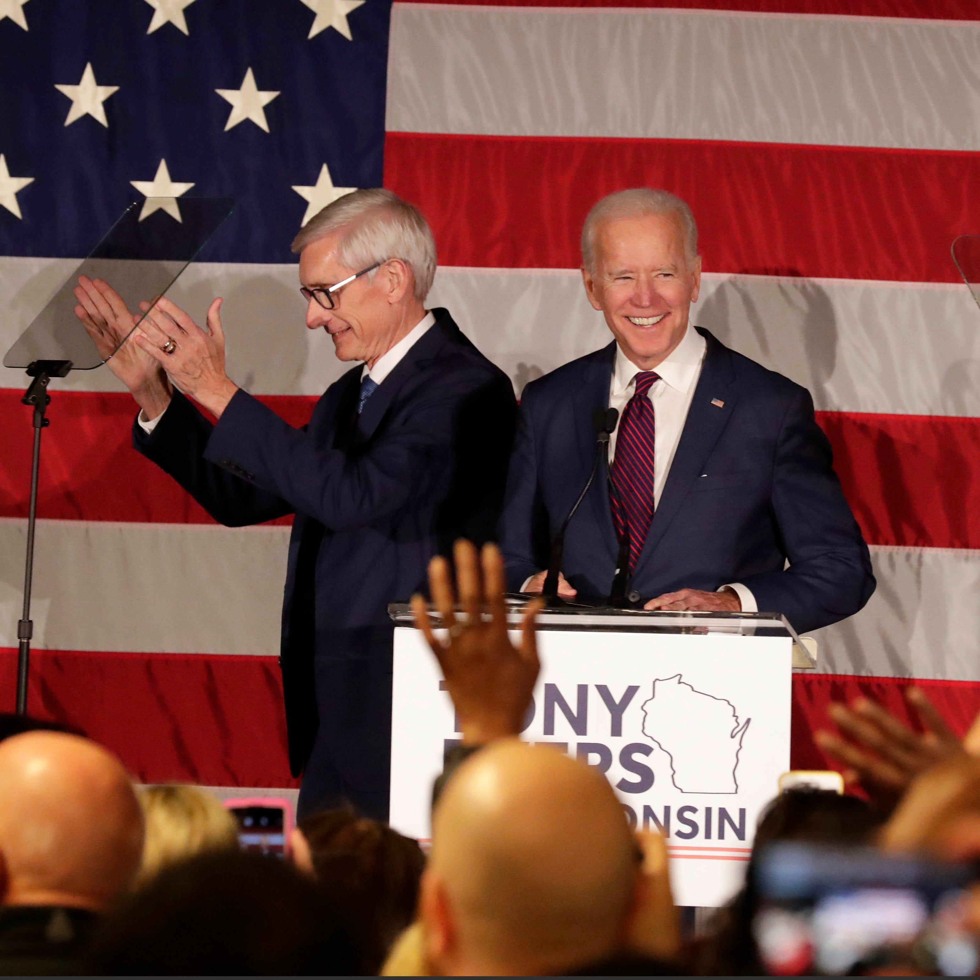 Joe Biden campaigns for Tammy Baldwin, Tony Evers: 'We're in a battle for America's soul'