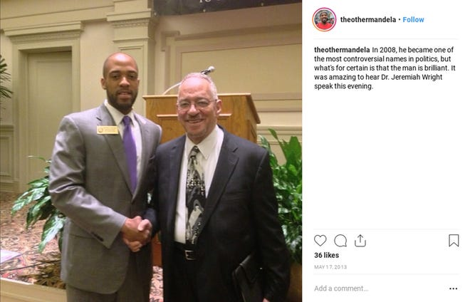 Mandela Barnes, now the Democratic nominee for lieutenant governor, shakes hands with the Rev. Jeremiah Wright in this 2013 photo Barnes posted on Instagram.