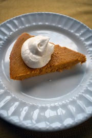 No one will miss the crust in this pumpkin pie, which also forgoes the usual spices to let the pumpkin flavor shine.