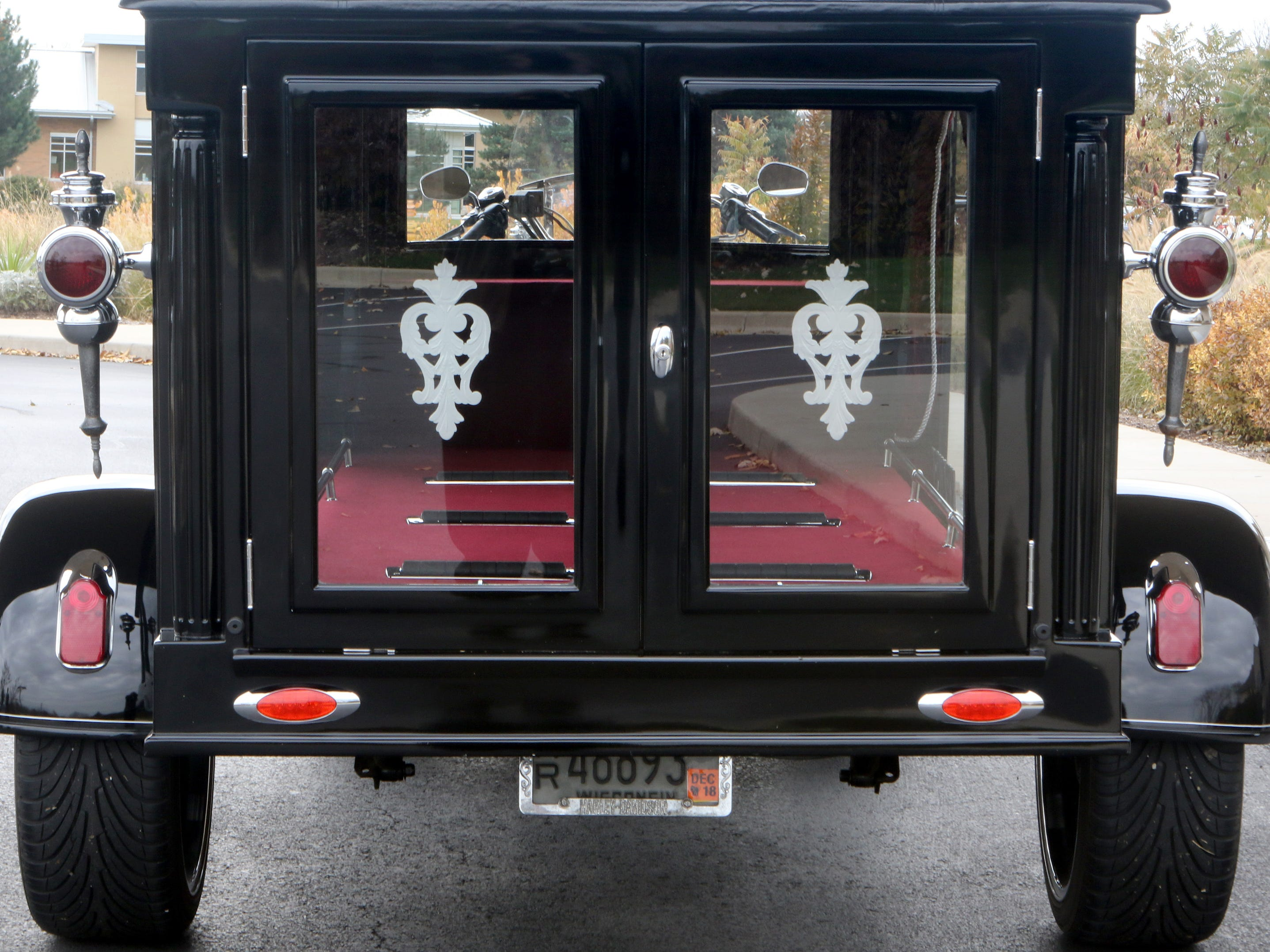 Krause Funeral Home offers Harley enthusiasts a final ride in a hearse that is designed after old horse-drawn hearses.