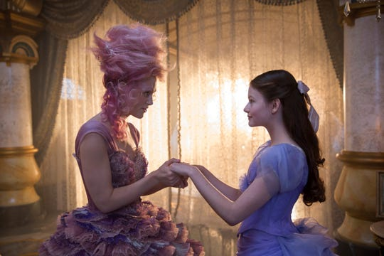 "The Sugar Plum Fairy (Keira Knightley, left) has some advice for Clara (Mackenzie Foy) in ""The Nutcracker and the Four Realms."""