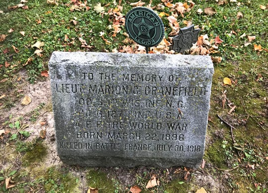 Marion Cranefield was shot in the head and killed while leading his unit in France on July 30, 1918. The Madison VFW Post is named after him. He was buried in France and reinterred several years later at Forest Hill Cemetery in Madison.