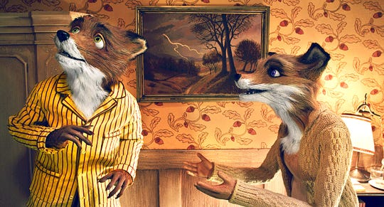 """Mr. Fox (left, voiced by George Clooney) and Mrs. Fox (Meryl Streep) have a moment in Wes Anderson's """"The Fantastic Mr. Fox."""""""