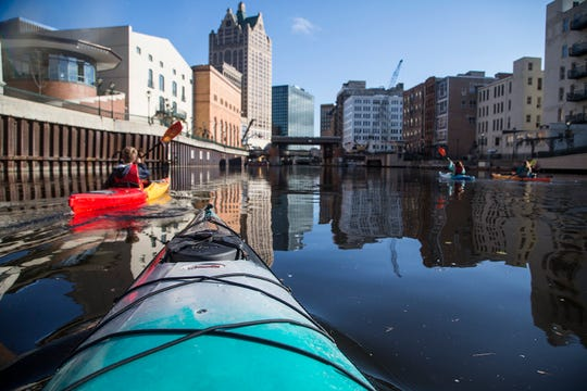 The kayak portion of Eric Larsen's trip involved a paddle down the Milwaukee River.