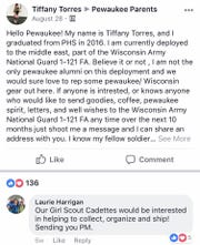 Pewaukee High School alumna Tiffany Torres posted in a Pewaukee community Facebook group in late summer asking for reminders of home. The community was happy to help.