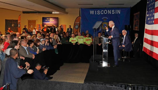 Former Vice President Joe Biden campaigned for Tony Evers during a rally last year in Milwaukee.