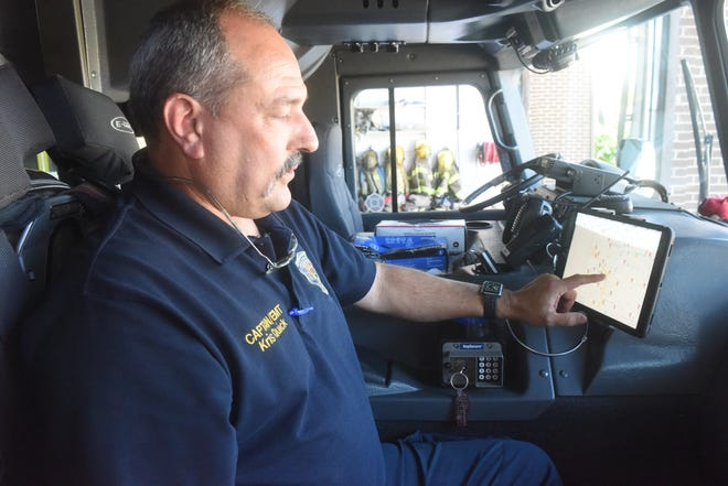 Cpt. Kris Quick of the Mountain Home Fire Department explains the Active911 system the fire department is now using .