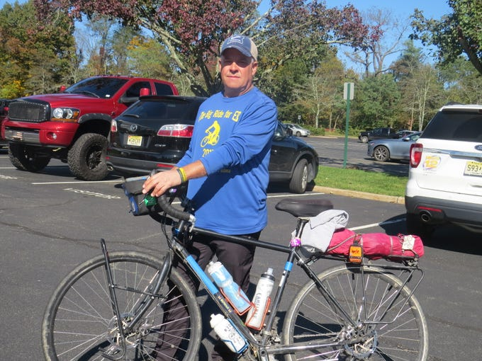 Robb Freed's 8,000 mile cross-country bike ride to raise money for a rare disease that killed his infant son arrives in Parsippany. Oct. 30, 2018