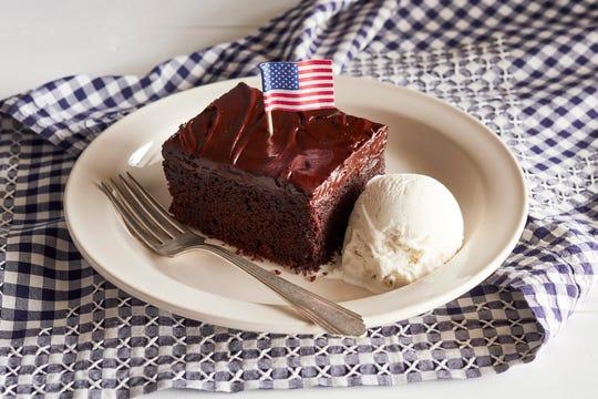 Cracker Barrel's Veterans Day offerings include a piece of Double Chocolate Fudge Coca-Cola Cake.