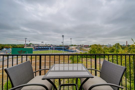 The condo at 817 Third Ave. N. has views of the ballpark where the Nashville Sounds play. Restaurants, Nashville Farmers' Market and other amenities are nearby.