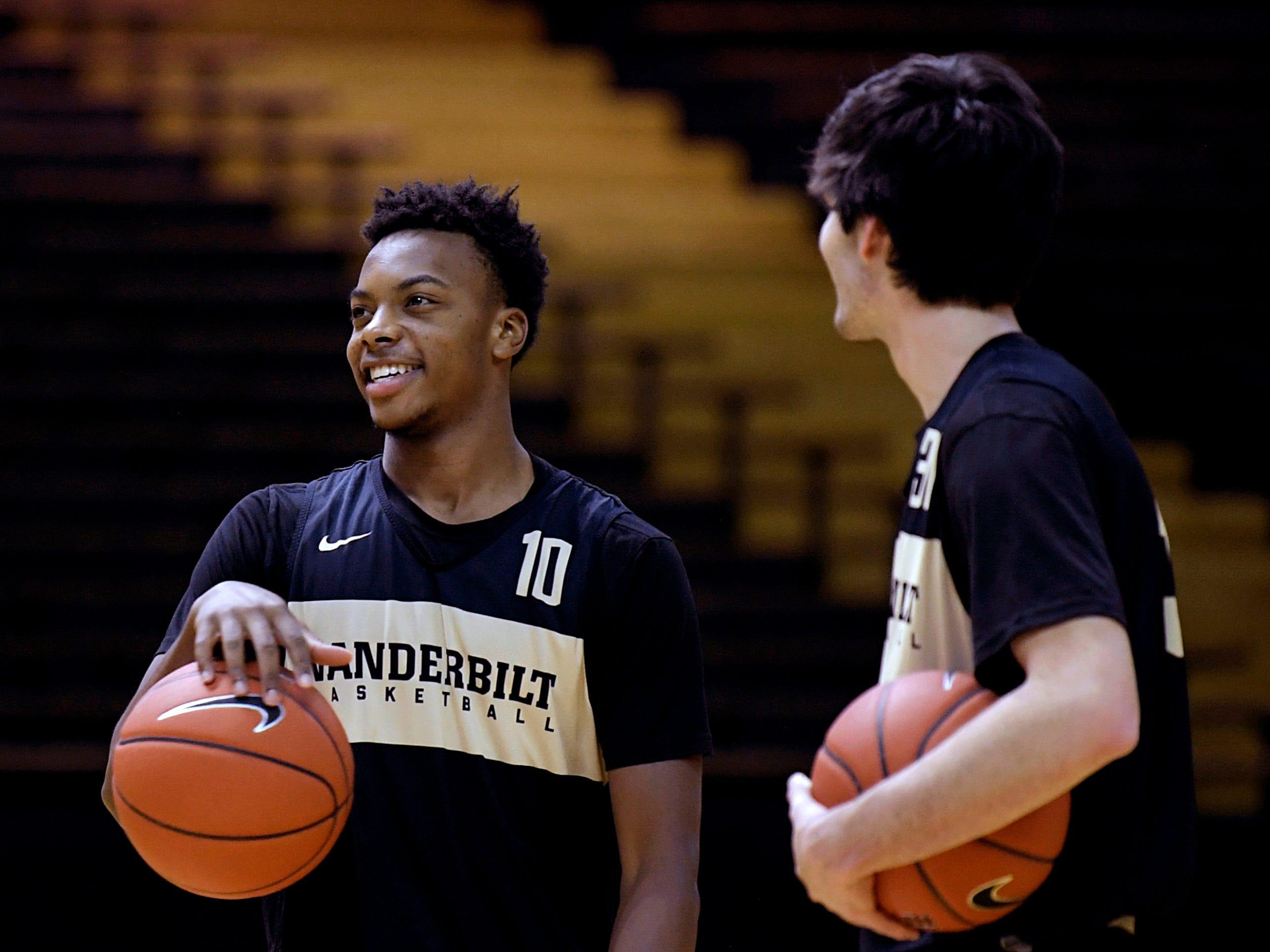 Vanderbilt basketball freshman players  Darius Garland and Mac Hunt laugh during practice at Memorial Gym on Monday, OCt. 22, 2018.
