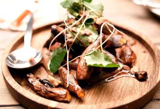 Roasted sweet potato fingerlings were served by Southall Farm Village and Inn chef Chef Tyler Brown during a pop-up tasting event on the farm-to-table property as a way to introduce itself to the community. The farm is on the outskirts of downtown Franklin.