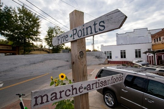 A sign marks Five Points at the intersection of North 11th Street and Clearview Avenue in the Five Points neighborhood of East Nashville.