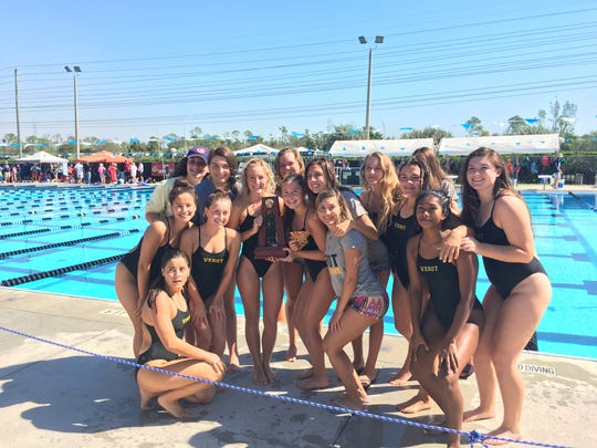 The Bishop Verot girls finished with the best team score on Tuesday at the Class 1A-District 9 swim meet.