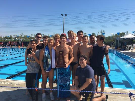 Bishop Verot boys swim team