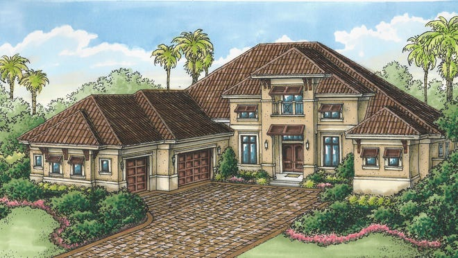 Stock Signature Homes' Regency Manor inventory home overlooks the 8th hole of the community's Lakes Course.