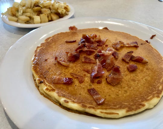 "The ""bacon blast"" pancakes at the new LuLu B's in North Naples."