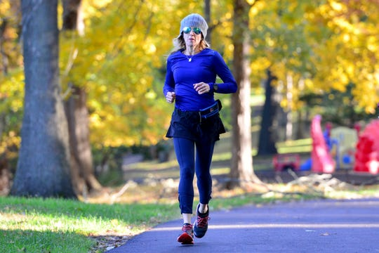 Rochelle Goldschmiedt trains for the NYC Marathon at Milton Votee Park in Teaneck on Tuesday morning October 30, 2018. Goldschmiedt wears a bracelet around her wrist with her mother's number from when she was tattooed in Auschwitz during WWII. She will have the number placed on her arm to honor her mother with henna before the race.