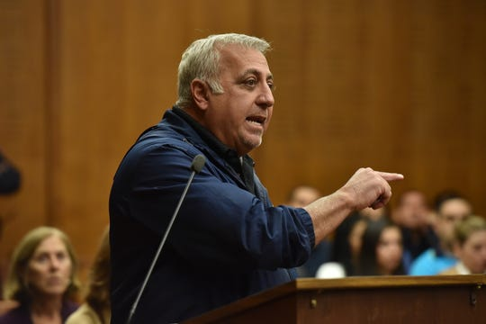 20010582A HACKENSACK GEORGIEV 11/13/15. Multimillionaire developer Fred Daibes gives a victim impact statement prior to sentencing of defendants in his home invasion trial. Photo by Marko Georgiev/Staff