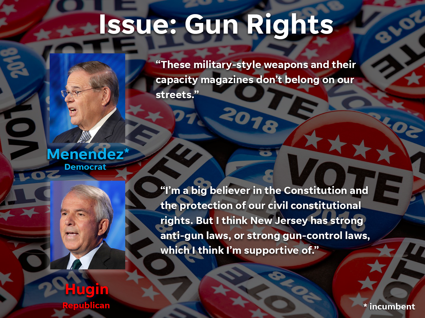 Where the Senate race candidates stand on gun rights.