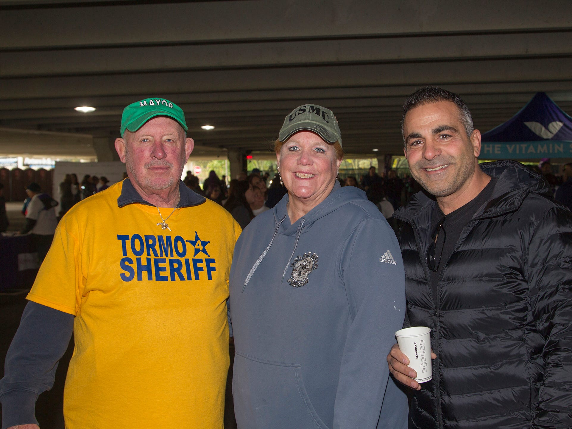 "Harry Shortway, Suzanne Shortway, Tarek Saheli. Alzheimer's New Jersey hosts annual ""Walk to Fight Alzheimer's"" at Bergen Community College in Paramus. 10/28/2018"