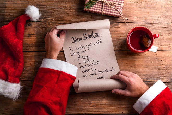 Santa Claus holding a wish list and reading it.
