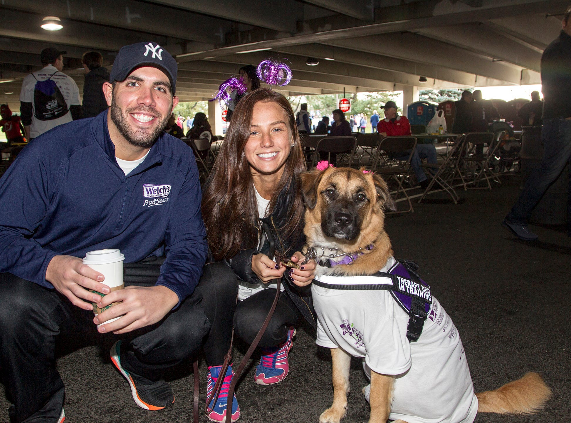 "Rob Roselli, Christina Candido and Rosie. Alzheimer's New Jersey hosts annual ""Walk to Fight Alzheimer's"" at Bergen Community College in Paramus. 10/28/2018"