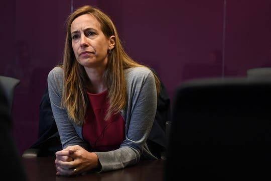Mikie Sherrill during an editorial board meeting on Oct. 16.