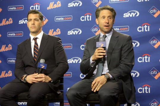 Brodie Van Wagenen and Jeff Wilpon answer questions from the press after Van Wagenen was officially introduced as the Mets new general manager at Citi Field. Tuesday, October 30, 2018