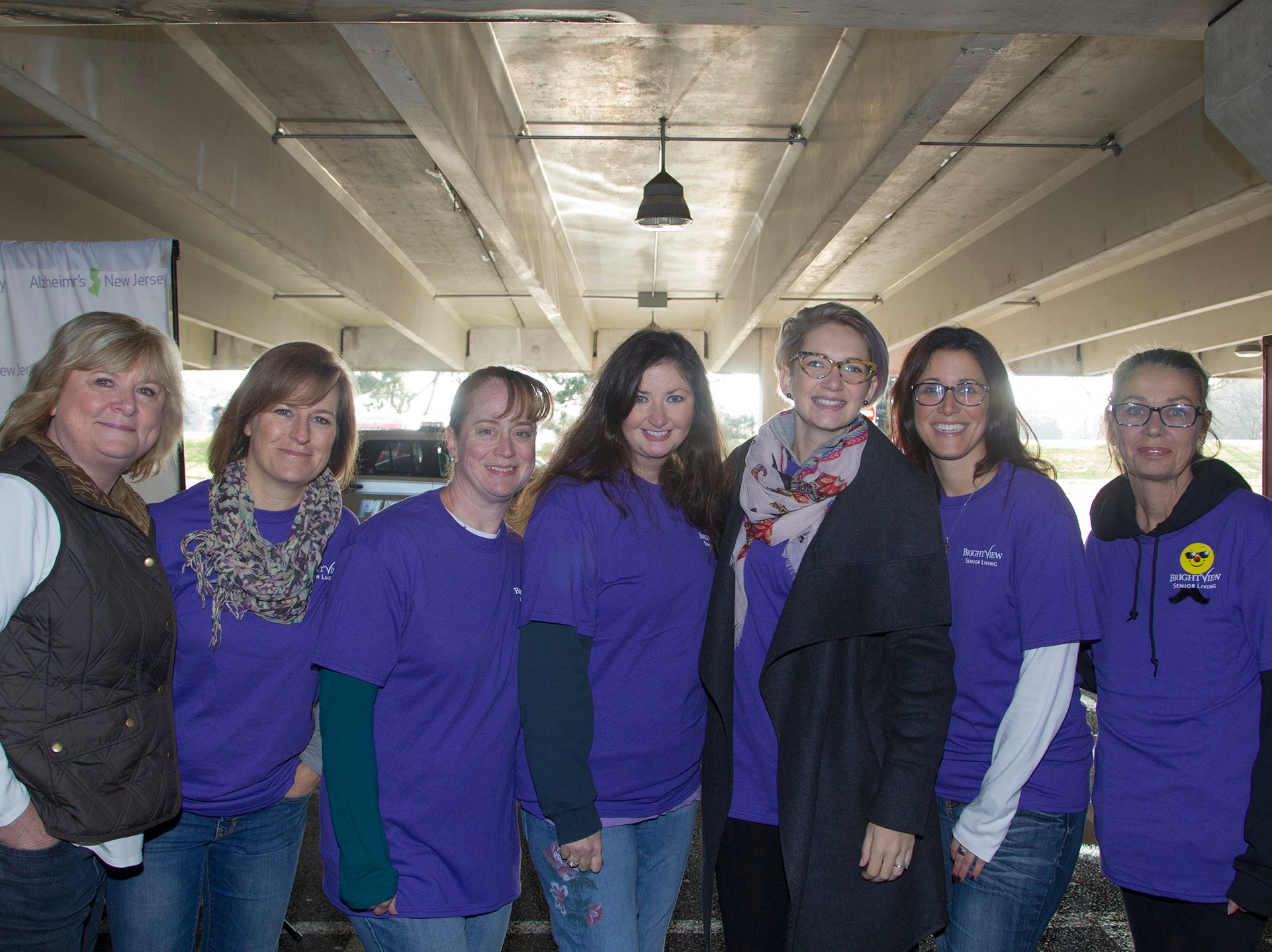 "Maryann, Mary, Denise, Ann, Lindsay, Sam, Karan. Alzheimer's New Jersey hosts annual ""Walk to Fight Alzheimer's"" at Bergen Community College in Paramus. 10/28/2018"