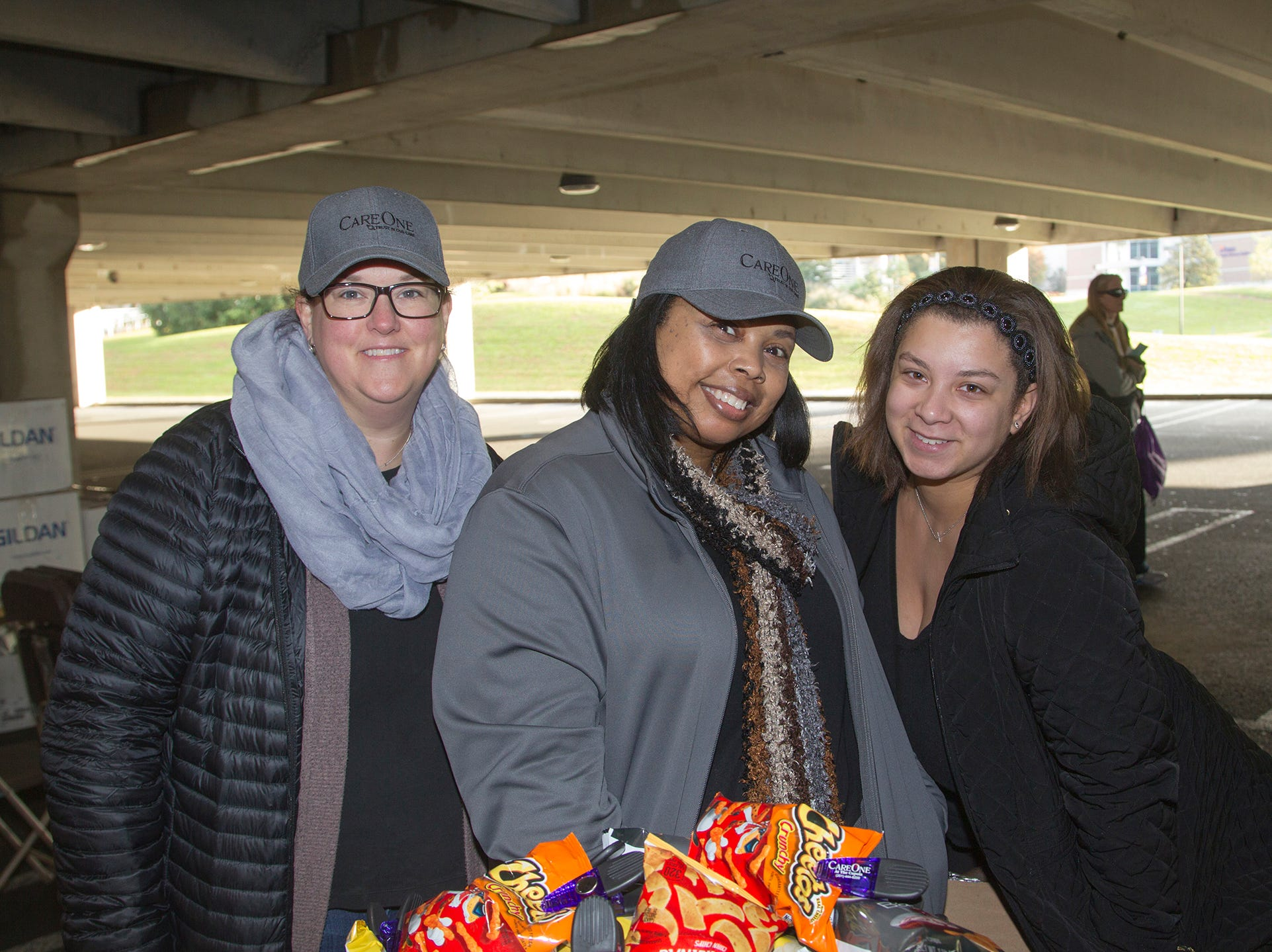 "Jennifer VanDam, Chiquita Matthews, Megan Dortch. Alzheimer's New Jersey hosts annual ""Walk to Fight Alzheimer's"" at Bergen Community College in Paramus. 10/28/2018"