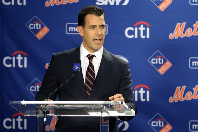 Brodie Van Wagenen speaks to the press after being introduced as the Mets new general manager at Citi Field. Tuesday, October 30, 2018