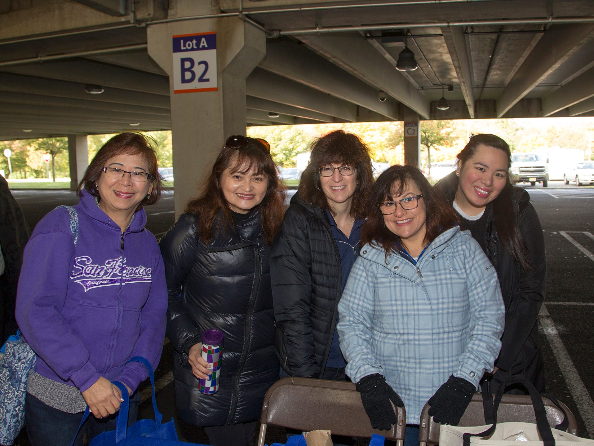 "Virgina, Grace, Donna, Rosemary, Joana. Alzheimer's New Jersey hosts annual ""Walk to Fight Alzheimer's"" at Bergen Community College in Paramus. 10/28/2018"
