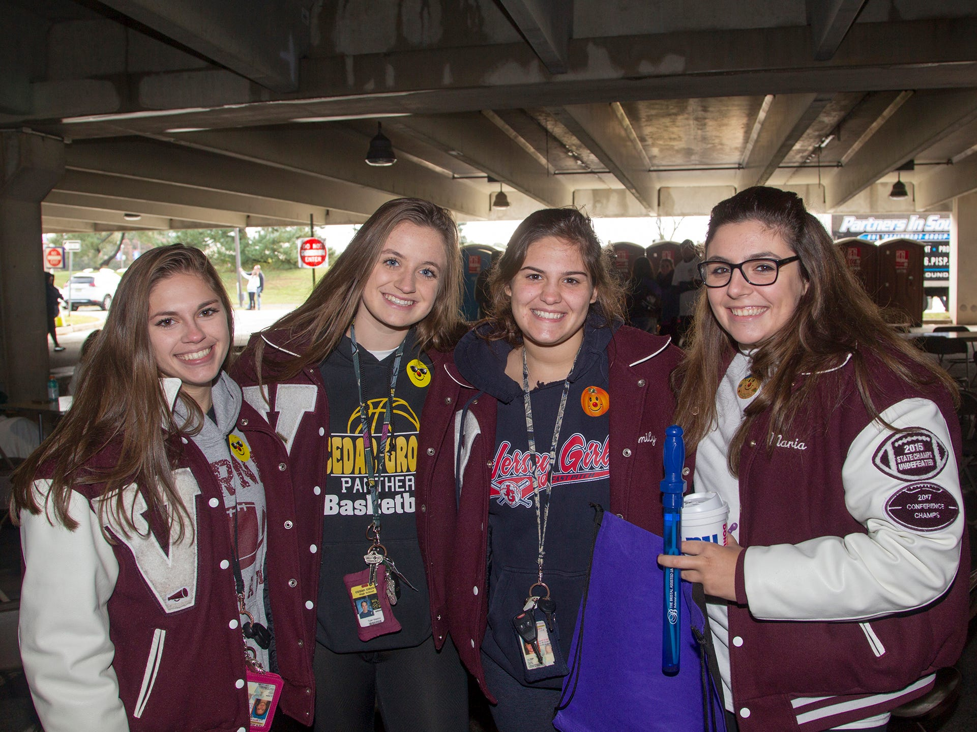"Maria, Julia, Emily, Brianna. Alzheimer's New Jersey hosts annual ""Walk to Fight Alzheimer's"" at Bergen Community College in Paramus. 10/28/2018"