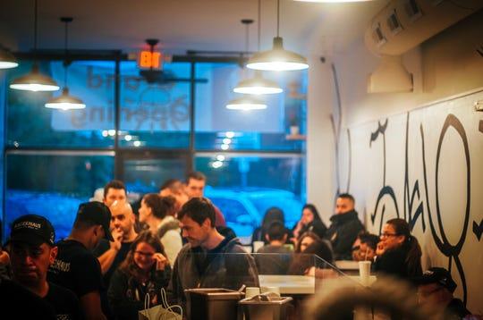 Customers crowd into BurgerHaus.