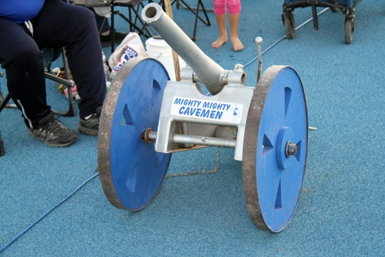 A front view of the 300-pound cannon used for Carlsbad touchdown celebrations.