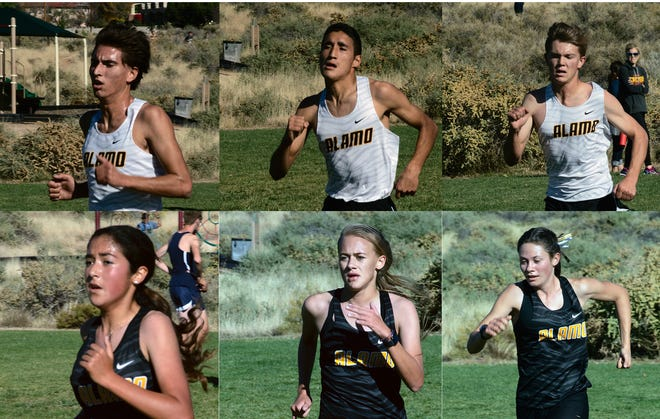 The AHS cross country teams competed in the Eldorado Meet in Albuquerque on Oct. 25, with the Tigers girls' team running away with the first place trophy. Clockwise from top left are Alex Cavolo, Victor Grimaldo, Ezra Cadwallader, Moriah Martin, Sheyenne Drake, and Gabriella Sandoval.
