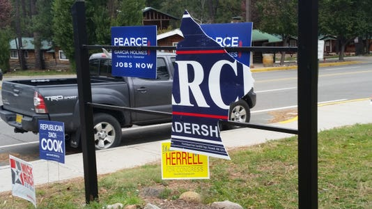 Political signs vandalized