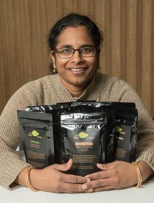 Uma Swarnam started a business selling tea. She hopes to one day open a tea room.