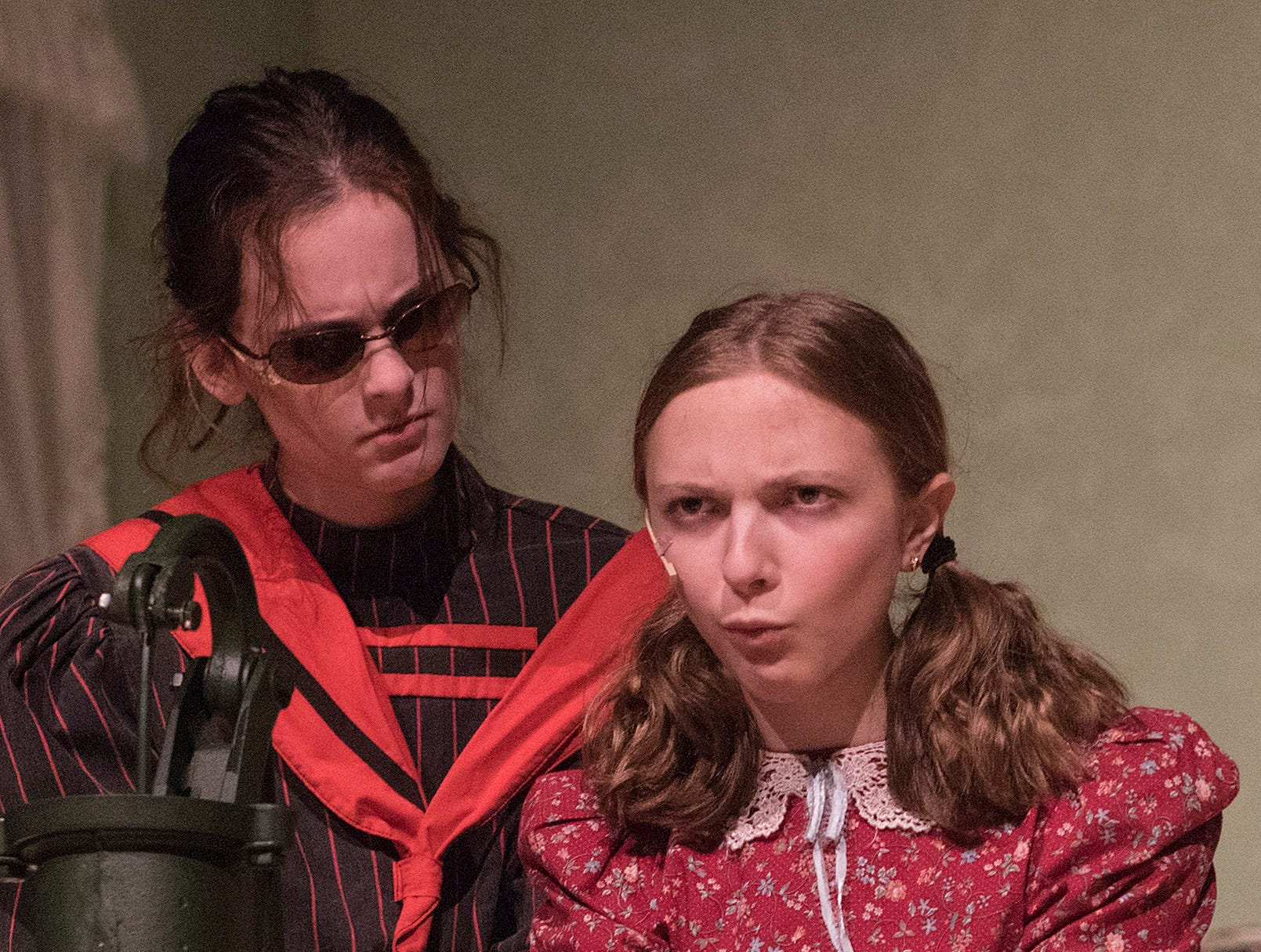 The breakthrough. Water. Helen (Jillian Bocketti) finally connects letters and words with objects. Annie Sullivan's (Caitlin Griffin) weeks of struggle pay off.