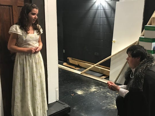 Count Gregor (Jeremy Roszko) proposes to Sophia (Rachel Scott).