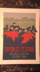 At some point in the history of the Yambilee, there began an annual Yam Poster contest. In 1984, the winning poster was submitted by Susan Stander Voitier, and it is reproduced here. Susan is the daughter-in-law of Jean Horecky (Voitier), the first Yambilee Queen.
