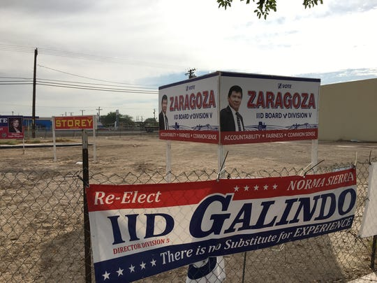 Campaign signs for Norma Sierra Galindo and Carlos Zaragoza in Imperial, California, seen on Oct. 29, 2018.