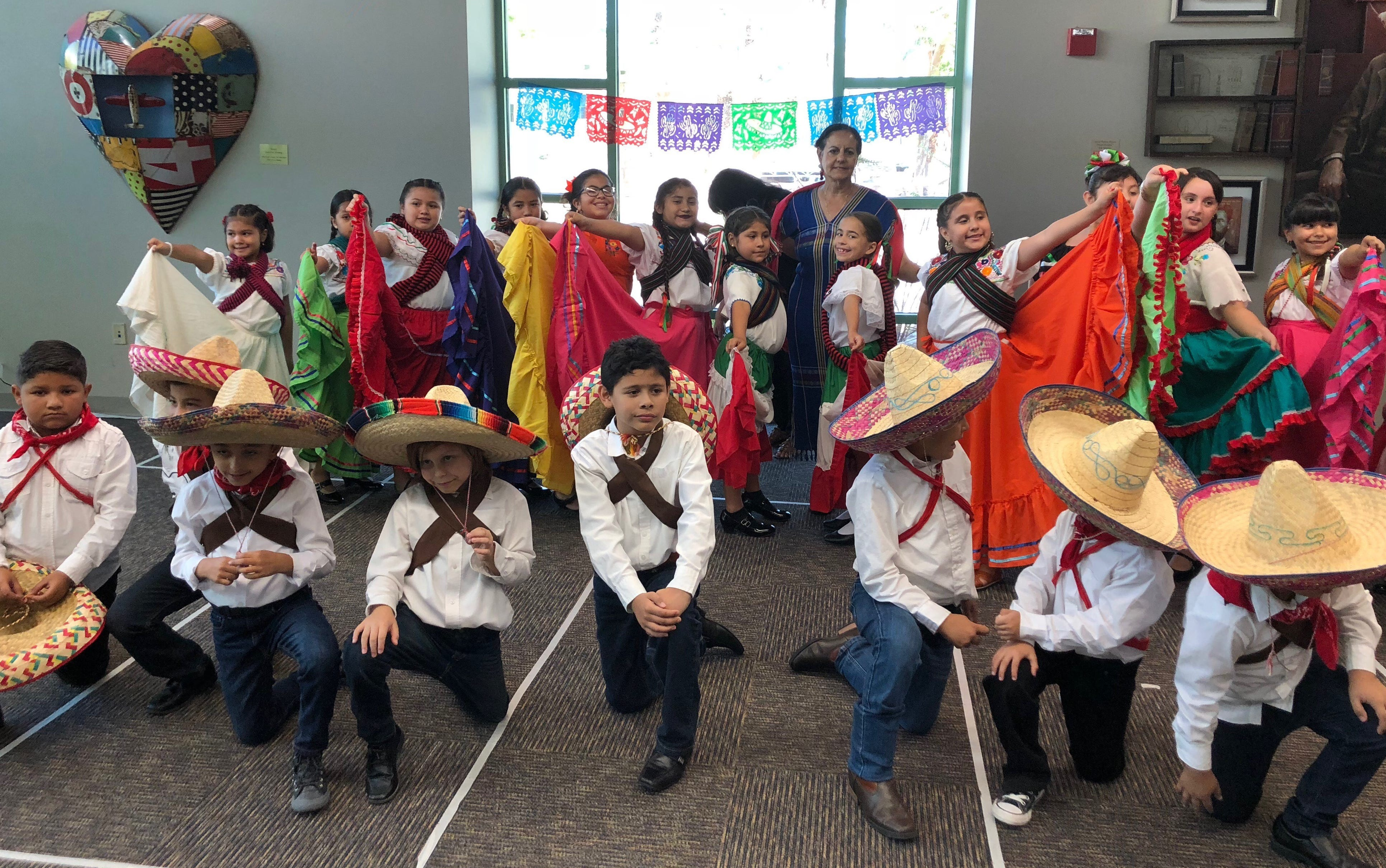 Students from Cesar Chavez Elementary in Coachella perform at the La Quinta library in September. They were ordered to remove depictions ofMexican culture from the performance, which was all about Mexican Independence Day.