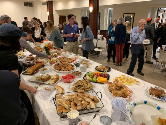 A reception with food after the service allowed people to gather in fellowship.