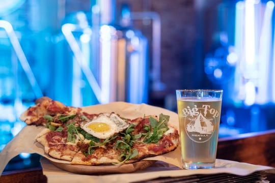 Flatbread pizza, Big Top Brewing Company.