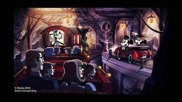 In Mickey and Minnie's Runaway Railway, guests ride on Goofy's train.