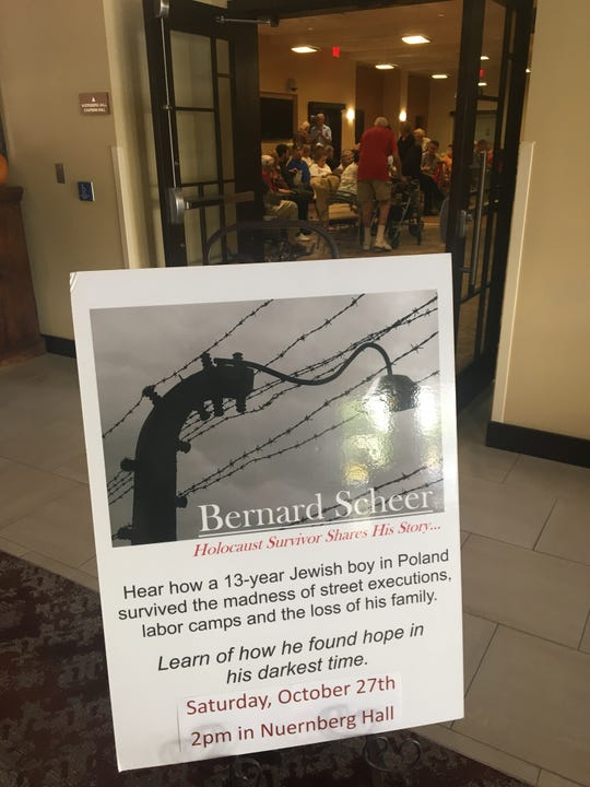 Holocaust survivor Bernard Scheer has spoken to thousands at schools and community gatherings over the years. On the Saturday when a gunman opened fire in a Pittsburgh synagogue, he told his story to 200 people gathered at Westminster Village in Scottsdale.