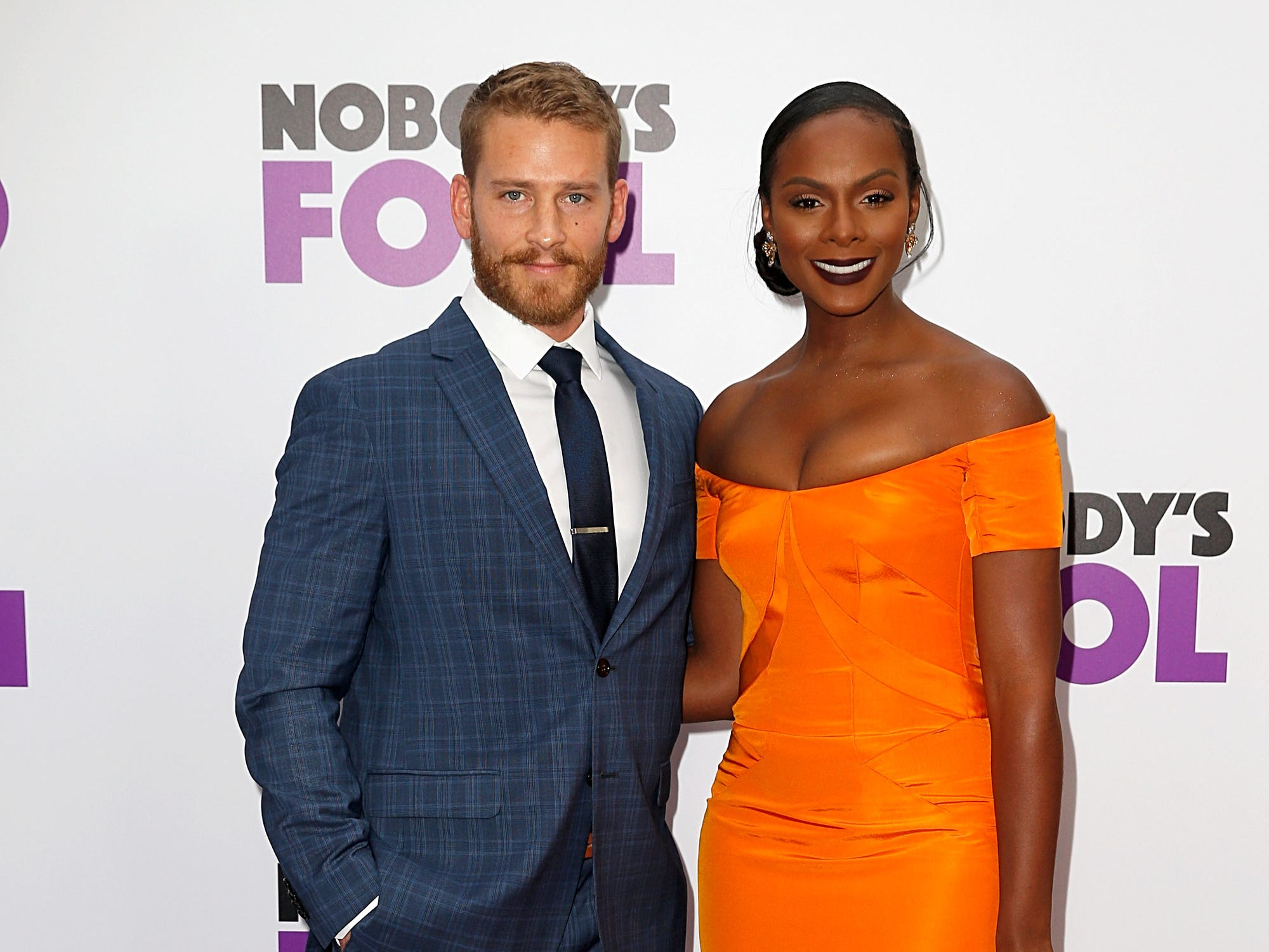 "Nicholas James and Tika Sumpter attend the ""Nobody's Fool"" New York premiere on Oct. 28, 2018, in New York City."