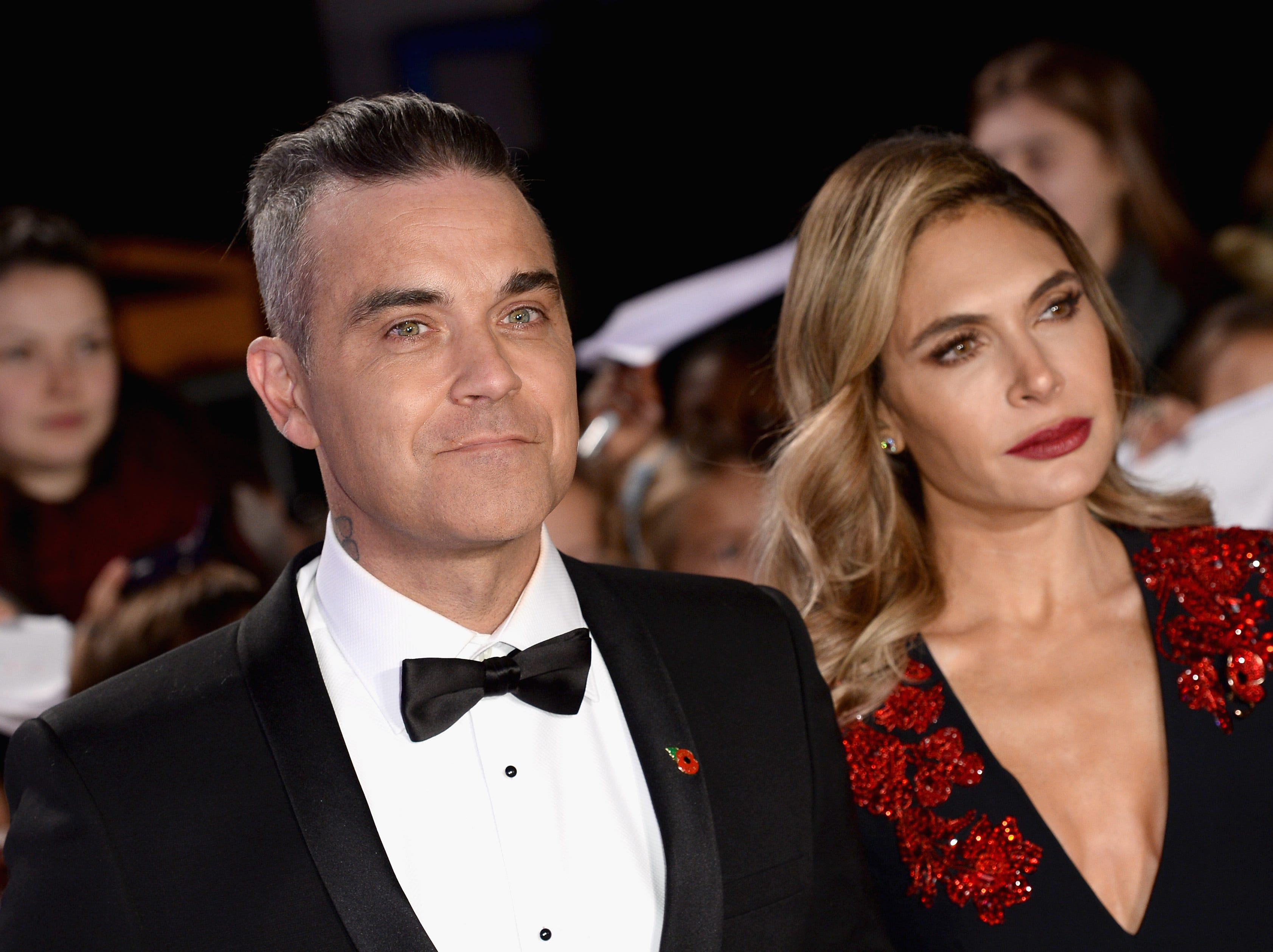 Robbie Williams and Ayda Field attend the Pride of Britain Awards 2018 on Oct. 29, 2018 in London.